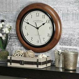 "11"" Round Wall Clock,Silent Whisper technology Walnut wood F"