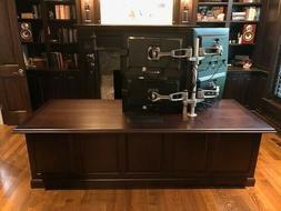 Executive / Custom Hi-Tech Wood Office Desk w integrated mul