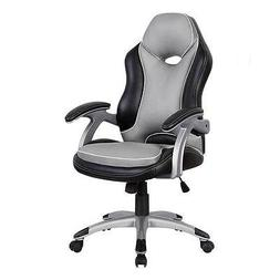 High Back Racer Series Two Tone Chair. Color: Black & Grey
