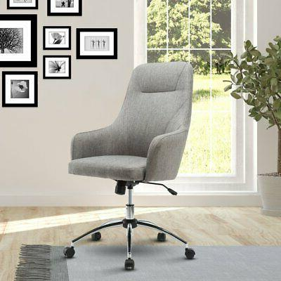 upholstered high back rolling office chair grey