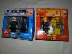 Block Tech Set Of 2 Firemen And 2 Police Officers 4 Total Fi