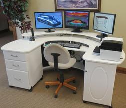 Unique Shaped Wrap Around Computer Desk 3 Drawer 1 Slide Fas